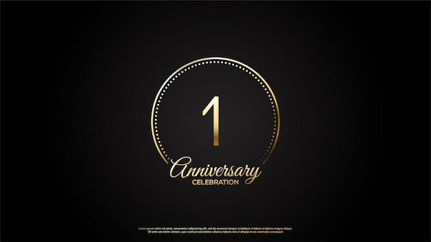 1-ая годовщина с иллюстрациями золотых чисел и золотых букв в золотом круге.