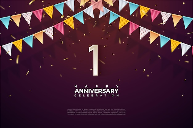 1st anniversary with number illustration under colorful flags.