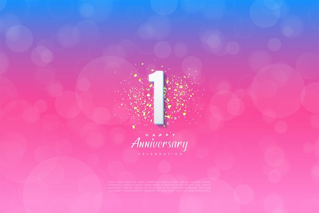 1st anniversary with number illustration in front of glitter