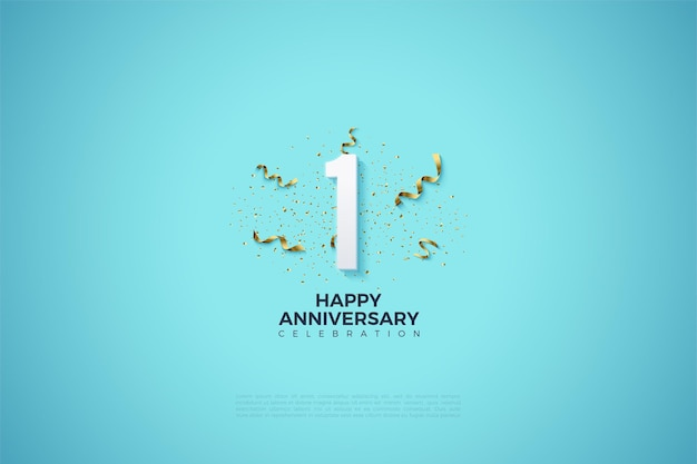 1st anniversary with number illustration and party festivities on clear sky blue background.