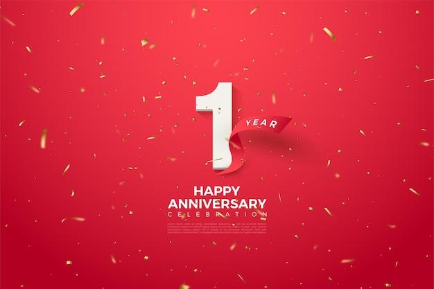 숫자와 곡선 형 빨간 리본이 달린 1 주년.