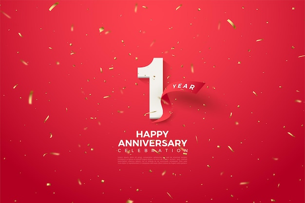 1st anniversary with numbers and curved red ribbon.