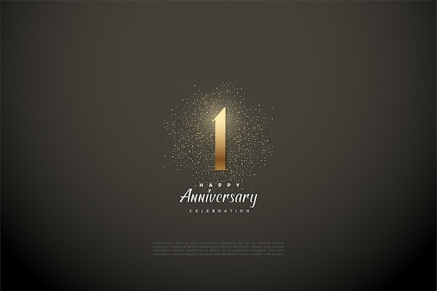 1st anniversary with numbers and gold glitter on a vignette gray background.