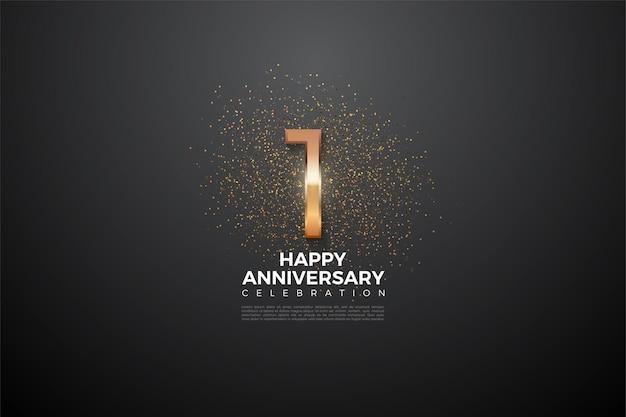 1-я годовщина с цифрами, которые ярко светятся посередине.