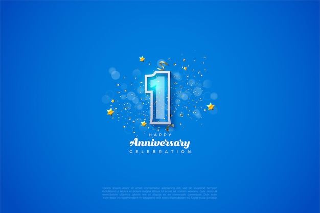1st anniversary with numbers with a thick white border on a blue background and a bokeh effect in front of the numbers.