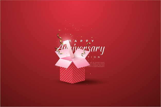 1st anniversary with numerical illustration on the gift box.