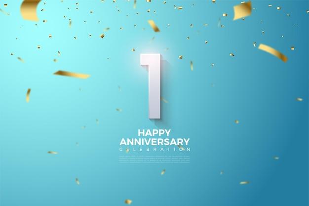 금색 리본이 뿌려진 하늘 위의 숫자 삽화가있는 1 주년. 프리미엄 벡터