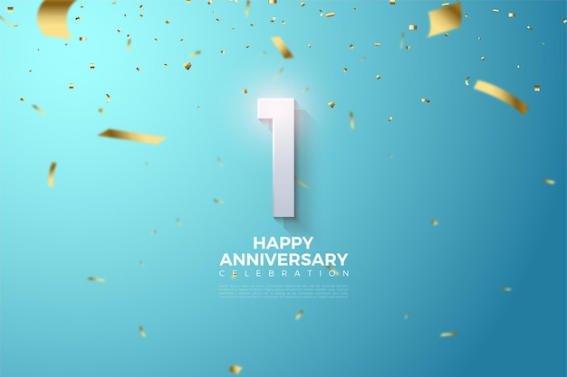 1st anniversary with numerical illustrations above the sky showered with pieces of gold ribbon.