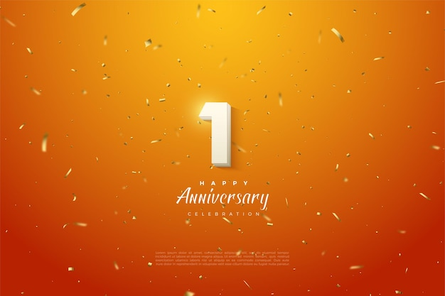 1st anniversary with white numbers on the orange background with gold spots.