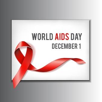 12月1日の世界援助デーのコンセプト。テキストと援助意識の赤いリボン。