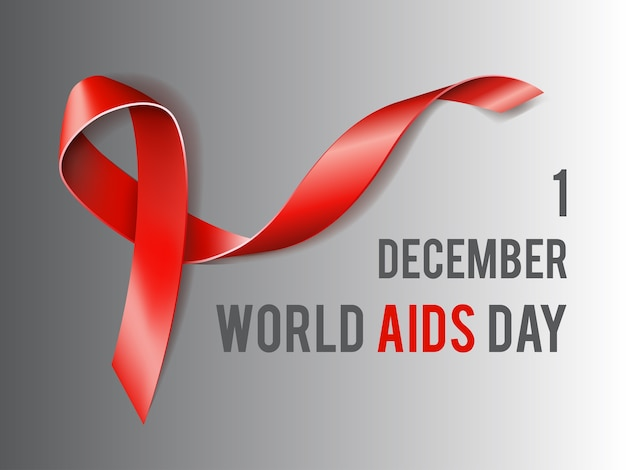 12月1日世界エイズデーのコンセプトとテキストとエイズ認識の赤いリボン