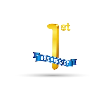 1st golden anniversary logo with blue ribbon isolated on white background. 3d gold 1st anniversary logo