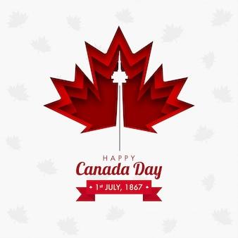 1867年7月1日、紙のレイヤーでハッピーカナダデーのコンセプトは、白い背景にカエデの葉とcnタワーをカットしました。