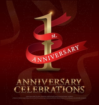 1st year anniversary celebration golden logo with red ribbon
