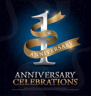 1st year anniversary celebration silver and gold logo