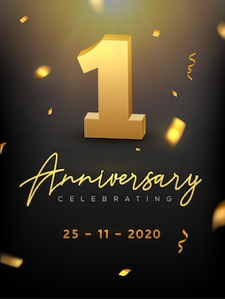 1st years anniversary celebration event. golden vector birthday or wedding party congratulation anniversary 1st.