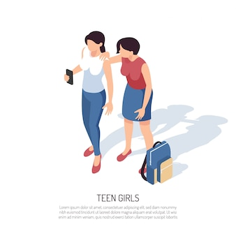 スマートフォンのバックパックとテキストを持つ2つの10代の少女の人間のキャラクターと等尺性ティーンエイジャー組成