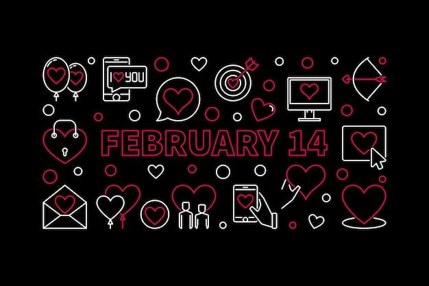 2月14日線形ベクトルバナー。バレンタインデーの概念図