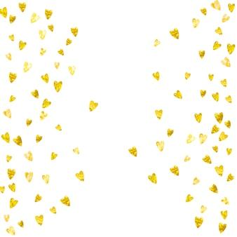 ゴールドラメの心とバレンタインの背景。 2月14日。バレンタイン背景テンプレートのベクトル紙吹雪。グランジの手描きのテクスチャ。