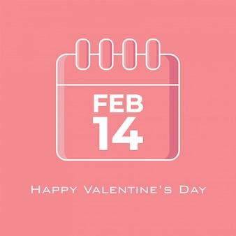 フラットデザインスタイルのピンクのトーンカラーの2月14日カレンダー
