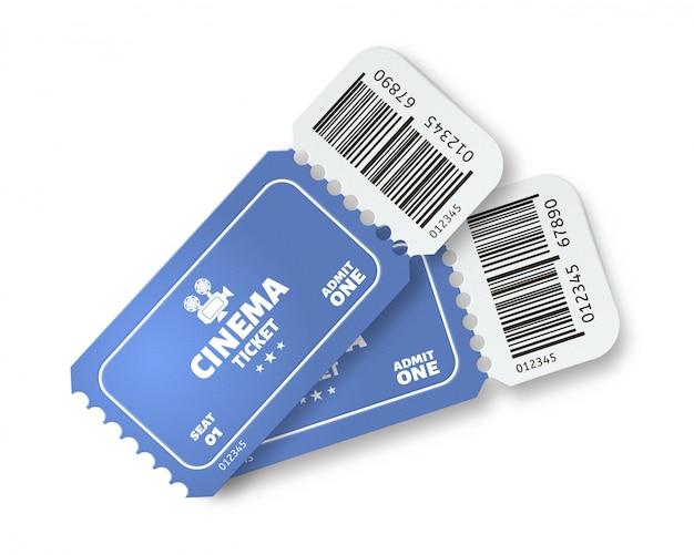 映画のチケット2枚。映画は現実的な影の概念を持つ1つの青い紙のチケットを認めます。バーコード付きのバウチャー。切り取り要素のあるクーポン。イベントパスのサンプル。デジタル識別