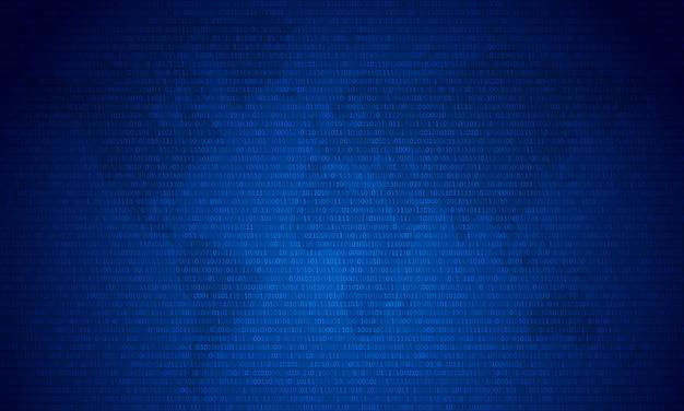 青い地図の背景に2桁の2桁の0と1のバイナリコード。アルゴリズムバイナリデータコード、復号化およびエンコード。