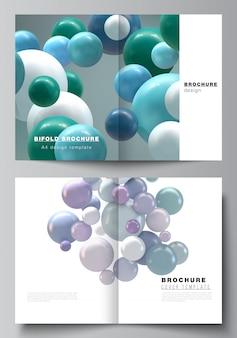 2つ折りパンフレット、チラシ、雑誌、カバーデザイン、ブックデザインの2つのa4カバーテンプレートのレイアウト。カラフルな3 d球、光沢のある泡、ボールと抽象的な未来的な背景。