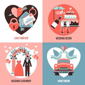 Набор свадебных изображений 2х2