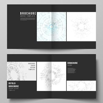 正方形デザインの2つ折りパンフレット、チラシ、小冊子の2つのカバーテンプレートの黒い色のレイアウト。接続線とドットを使用したネットワーク接続の概念。