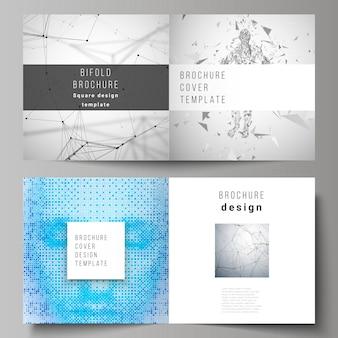 正方形デザインの2つ折りパンフレットの2つのカバーテンプレートの編集可能なレイアウト