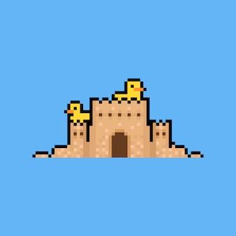 2つのアヒルを持つピクセルアート砂の城8ビット。