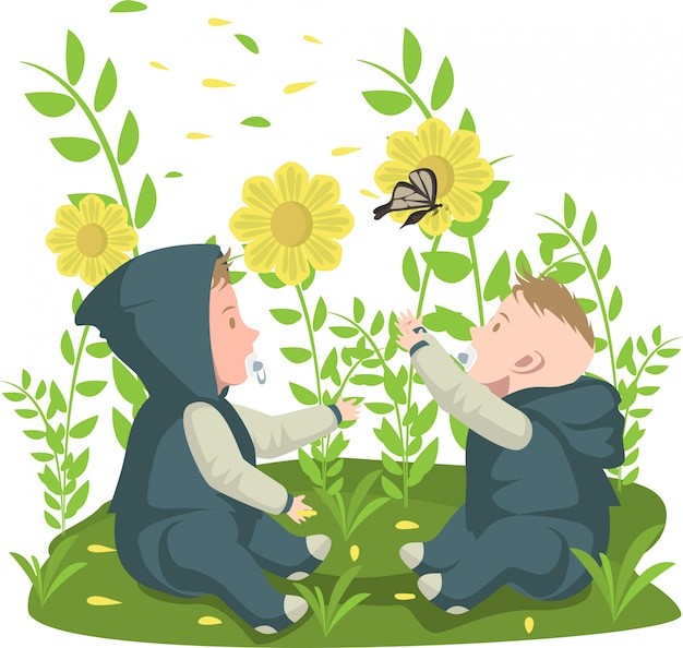 2 babies are playing with butterfly at the garden