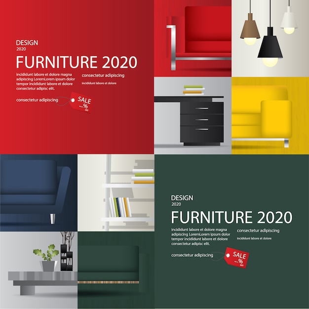 2 banner furniture sale advertisement flayers vector illustration