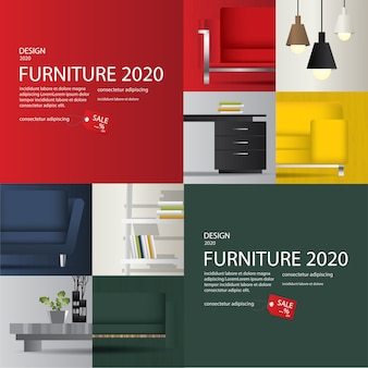 2 banner furniture sale advertisement flayers vector illustration