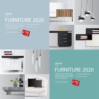 2 banner furniture sale advertisement flyers vector illustration