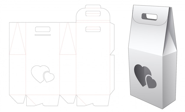 2 bottles packaging box and heart window with holder die cut template