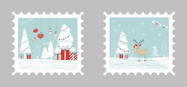 2 christmas gift cards with presents, christmas tree and snow. easy editable template. cute illustration for card, poster, t-shirt, banner.