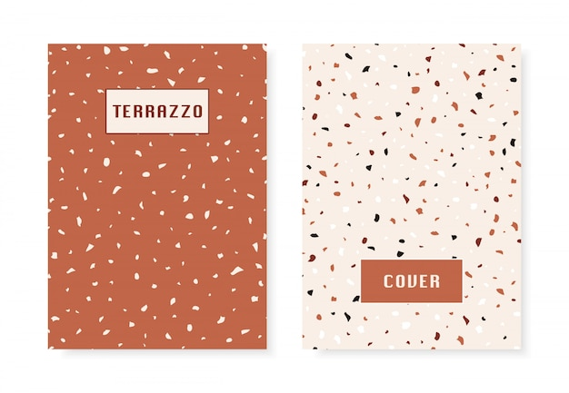 2 covers with terrazzo flooring imitation pattern.