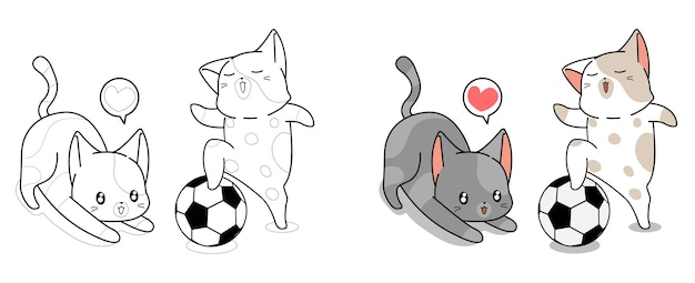 2 cute cats are playing football cartoon coloring page
