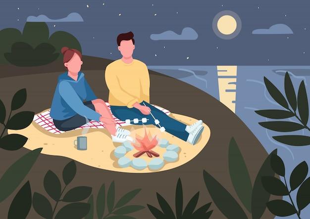ビーチフラットカラーイラストのロマンチックな夜のデート。ボーイフレンドとガールフレンドがマシュマロを焙煎します。背景に海と月のたき火2 d漫画のキャラクターの近くに座ってロマンチックなカップル