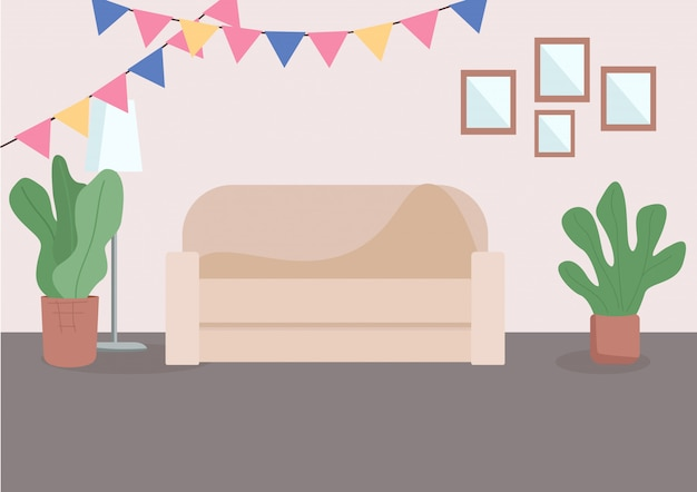 装飾されたリビングルームフラットカラーイラスト。壁の近くに快適なソファ。休日のための家のお祝い装飾。背景にカラフルなバナーとリビングルーム2 d漫画インテリア