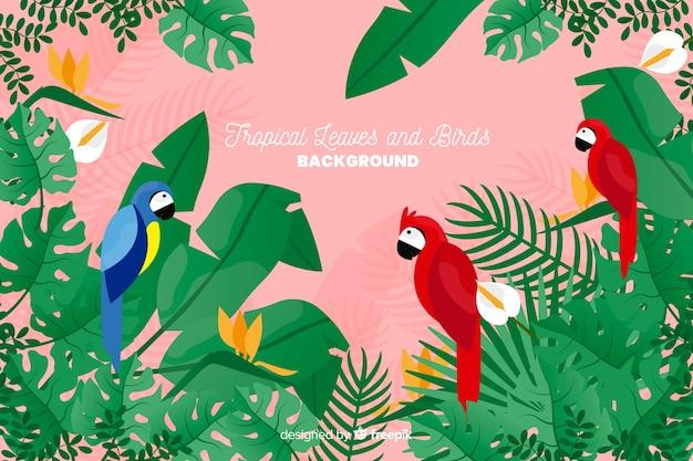 2 d熱帯の葉と鳥の背景