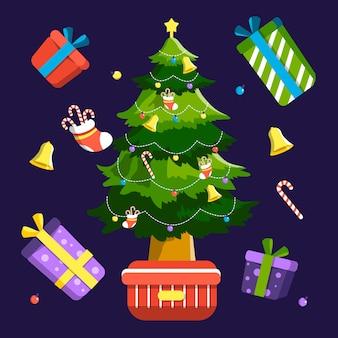 プレゼントと2 dのクリスマスツリー