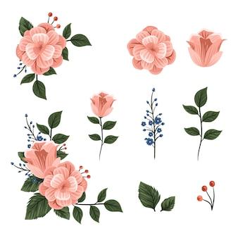 美しい2 dの花の花束