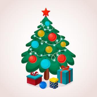 2 dのクリスマスツリーの背景
