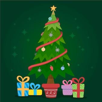 2 dデザインのクリスマスツリーの概念