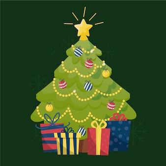 輝く星と2 dのクリスマスツリー