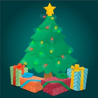 包まれた贈り物と2 dのクリスマスツリー