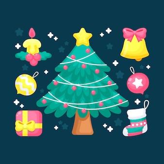 装飾が施されたかわいい2 dクリスマスツリー