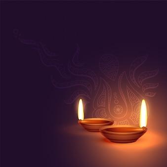 美しい2つのdiwali diyaの背景